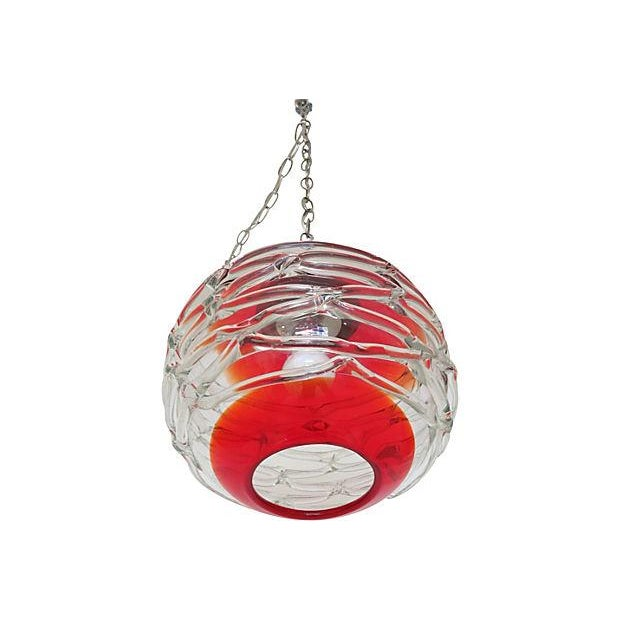 Image of Vintage Murano Red and Clear Glass Pendant