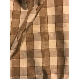 Mocha Brown & Cream Check Cotton Moire Fabric - 1 Yard