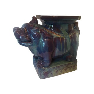 Vintage Chinese Dripped Glazed Porcelain Kylin Foo Dog Garden Stool