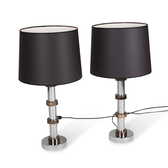 Vintage 1960s Faux Bamboo Chrome Lamps - A Pair - Image 6 of 8