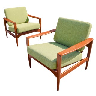 1950s Illum Wikkelso for Niels Eilersen Danish Modern Teak Lounge Chairs - A Pair