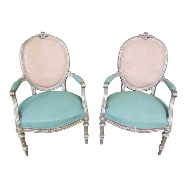 Artist Repainted Pastel Fauteuil Chairs- A Pair - Image 1 of 7