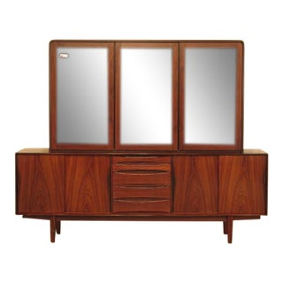 Vintage Mid-Century Modern 2 Piece Rosewood Credenza China Cabinet