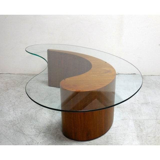 Kidney Shape Walnut Coffee Table With Glass Top