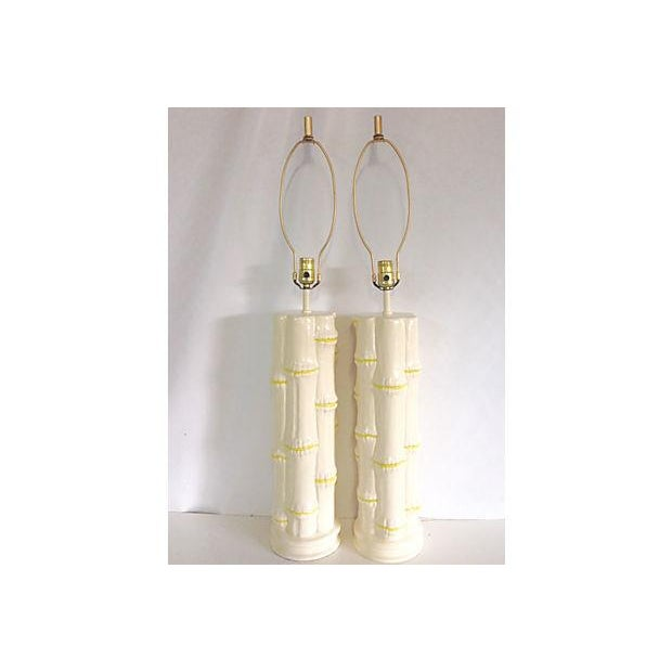 1960s Ceramic Faux Bamboo Lamps - Pair - Image 2 of 6