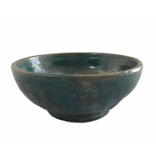 Metallic Turquoise Ceramic Bowl
