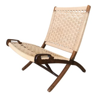 Hans Wegner Teak and Rope Lounge Chair
