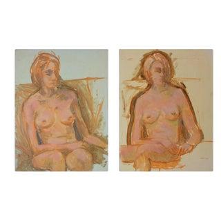Nude Woman Portrait Paintings- Set of 2