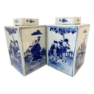 Square Blue & White Vases, S/2