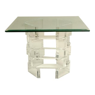 Mid-Century Occasional Table with Brick Pattern Lucite Base
