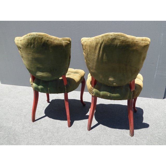 French Provincial Tufted Velvet Chairs - Pair - Image 7 of 11