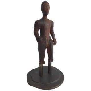 Hand-Carved Hardwood Sculpture Mounted on Bronze Base