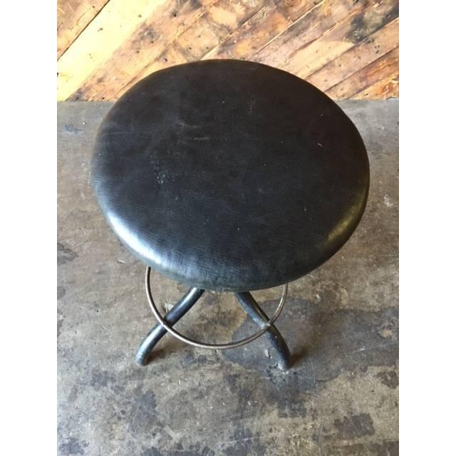 Vintage Industrial Black Vinyl Stool - Image 3 of 4