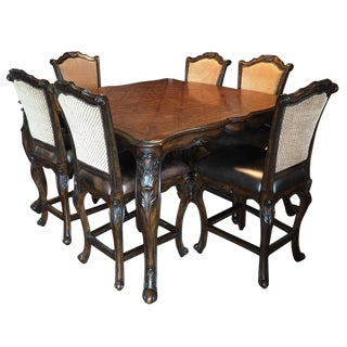 Traditional High-Top Dining Table and Chairs
