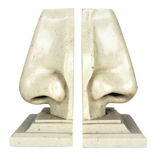 1970s Surrealist Pop Art Marble Nose Bookends - A Pair