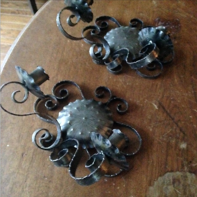 Spanish Revival-Style Candle Sconces- A Pair - Image 8 of 11