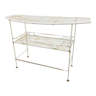 Vintage White Iron Outdoor Patio Bar