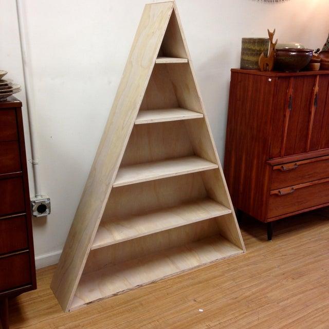 Triangular Natural Maple Bookshelf - Image 3 of 8