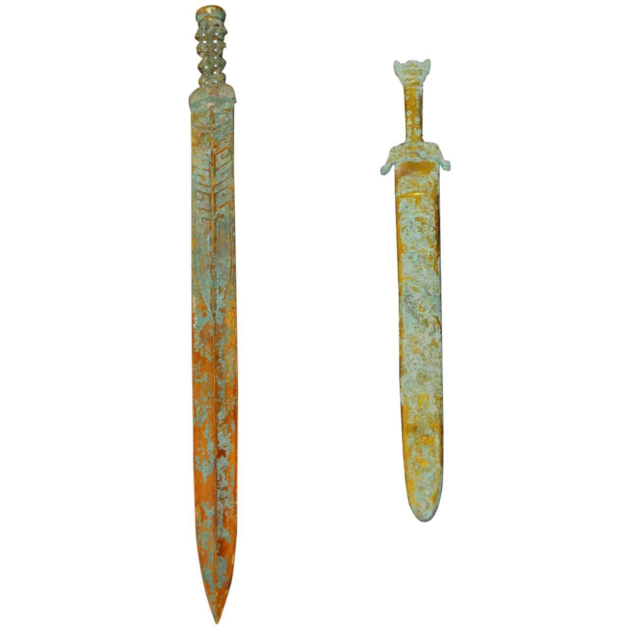 Chinese Qin Dynasty Archaic Brass Swords - Pair : Chairish