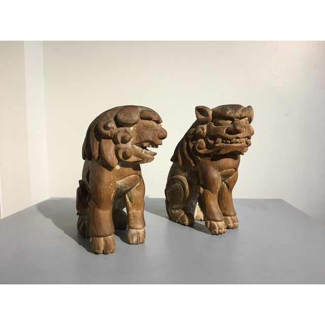 Pair Japanese Edo Period Carved Wood Komainu, early 19th century - Image 3 of 11