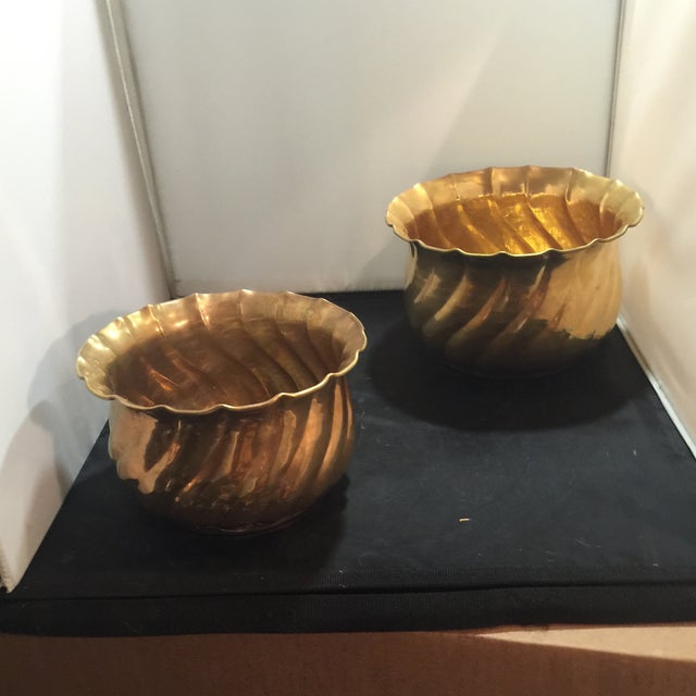 Image of Brass Planting Pots - Pair