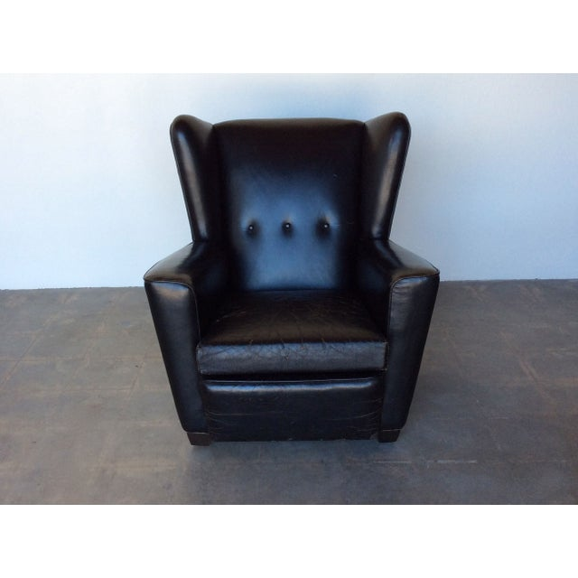 Vintage Black Leather Wing Chair - Image 2 of 7