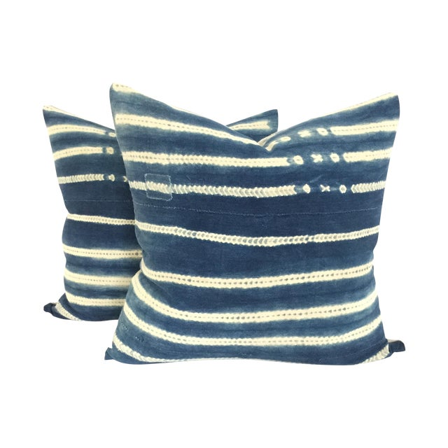 Vintage African Indigo Pillows - A Pair - Image 1 of 4