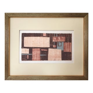 Mid Century Modern Vintage Abstract Wood Block Print