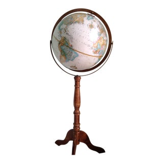 Vintage Oak World Globe