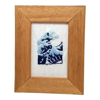 Japanese Wave Hand Embroidered Art in Wooden Frame