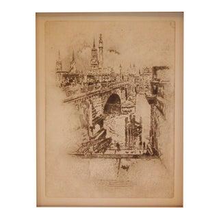 Joseph Pennell London Bridge Original Etching