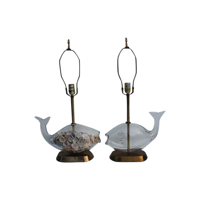 Blencko Art Glass Fish Table Lamps - A Pair - Image 1 of 11