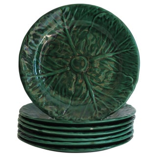 Green Italian Cabbage Plates - Set of 7
