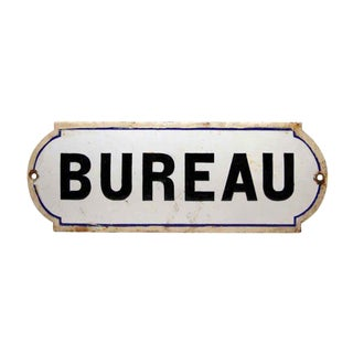 French Bureau Black & White Enamel Office Sign