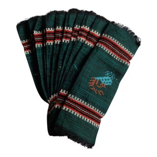 Green Guatemalan Hand-Loomed Cocktail Napkins - Set of 12