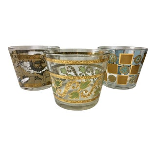 Mid-Century Glass Stamped Ice Buckets - Set of 3