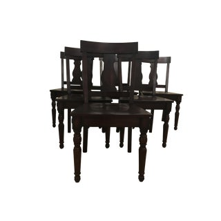 Transitional Wood Seated Dining Chairs - Set of 6