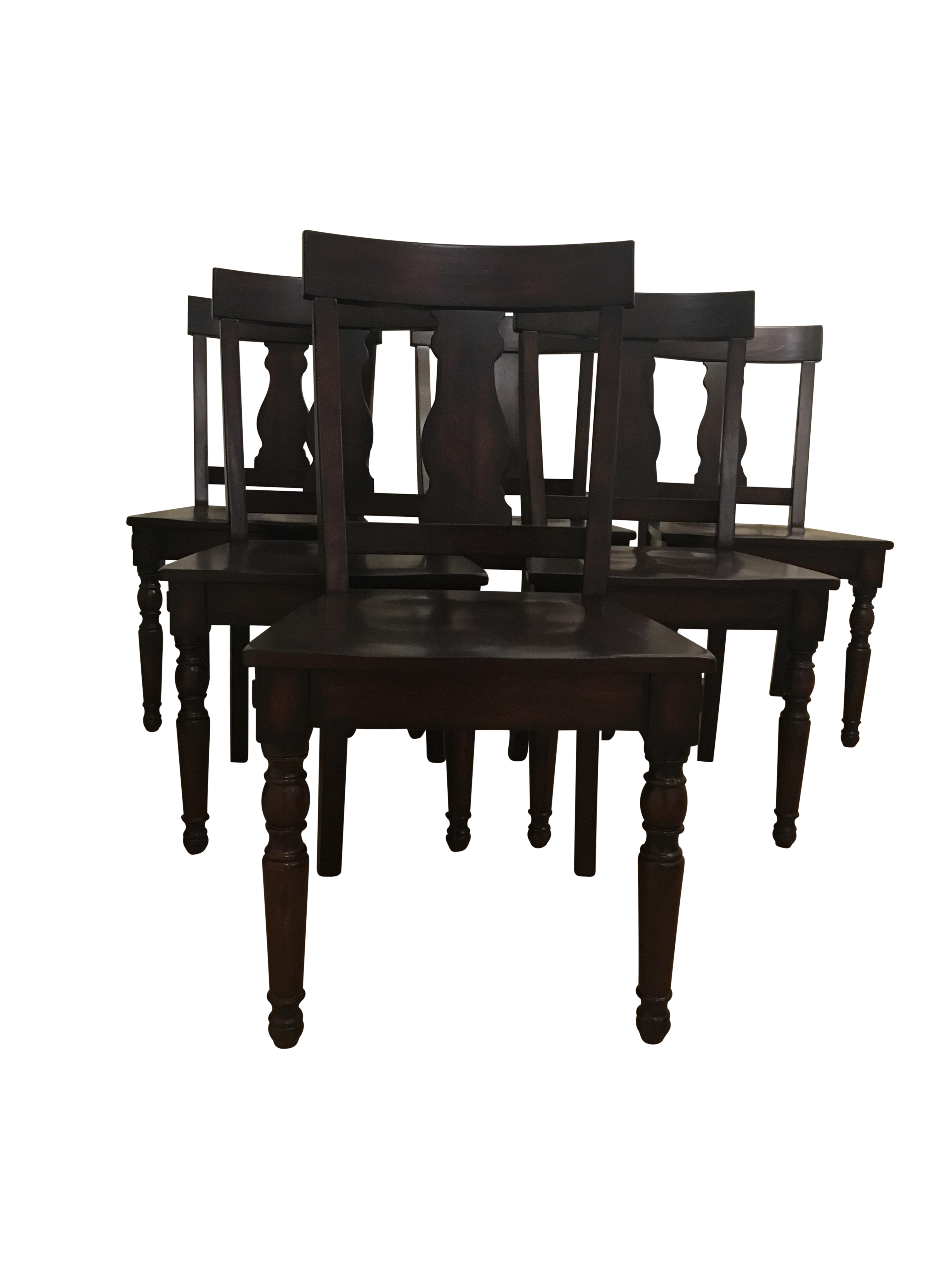 Transitional Wood Seated Dining Chairs   Set Of 6