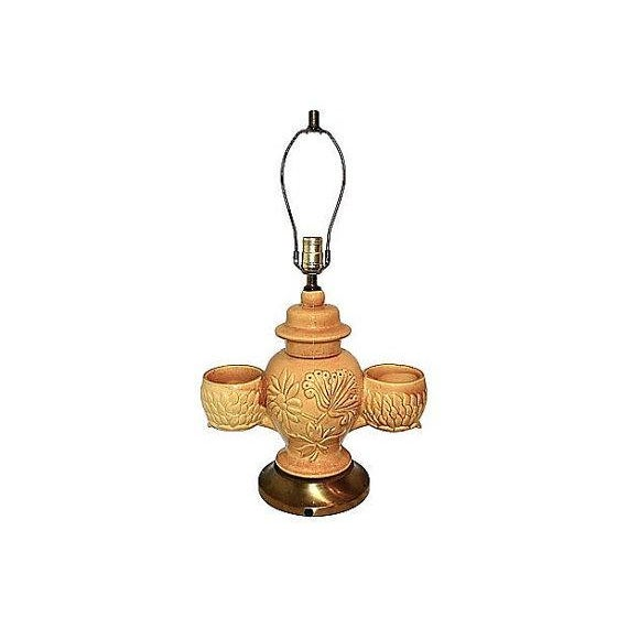 Image of Large Pottery Lamp With Orchid Holders