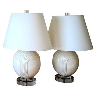 Ceramic & Lucite Table Lamps - Pair