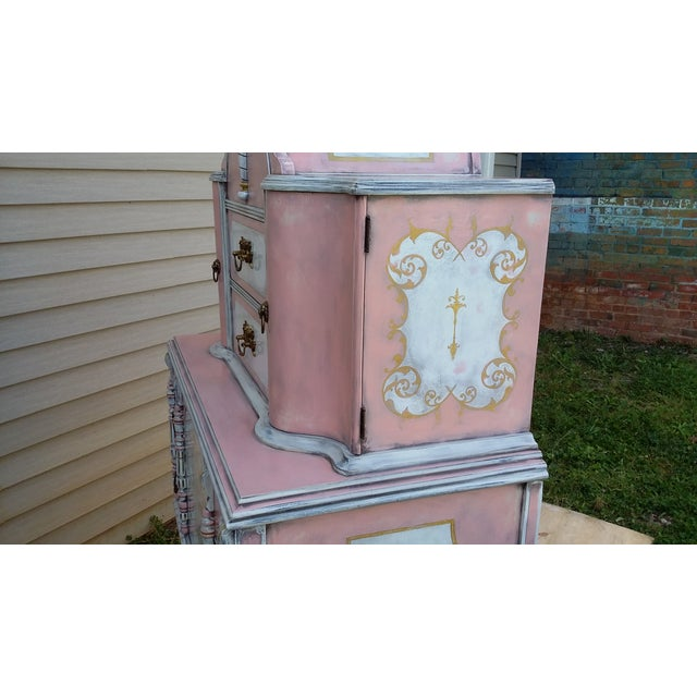 Antiqued Pink & Gold French-Style Dresser - Image 6 of 11