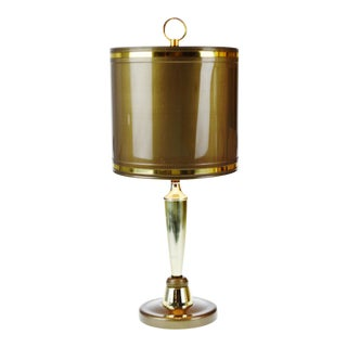 Mid Century Metal Table Lamp with Metal Drum Shade