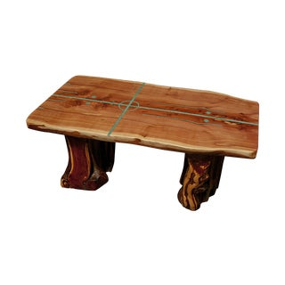 Cedar Slab Table With Turquoise Inlay