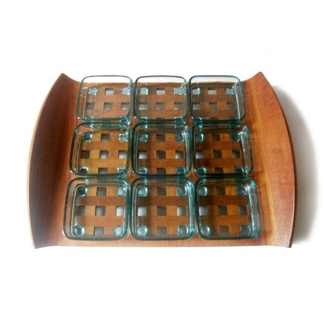 Dansk Teak Lattice Tray With Glass Dish Inserts - Image 2 of 6