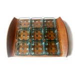 Image of Dansk Teak Lattice Tray With Glass Dish Inserts