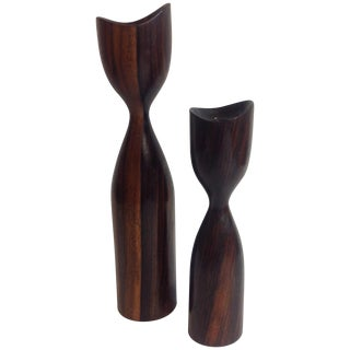 Jens Quistgaard Tigerwood Candlesticks - A Pair