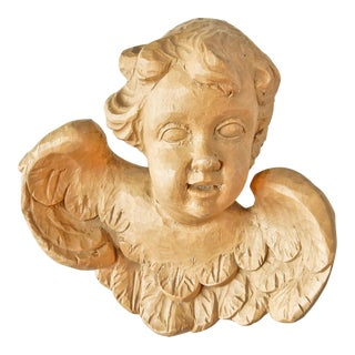 Carved Wooden Cherub Sculpture