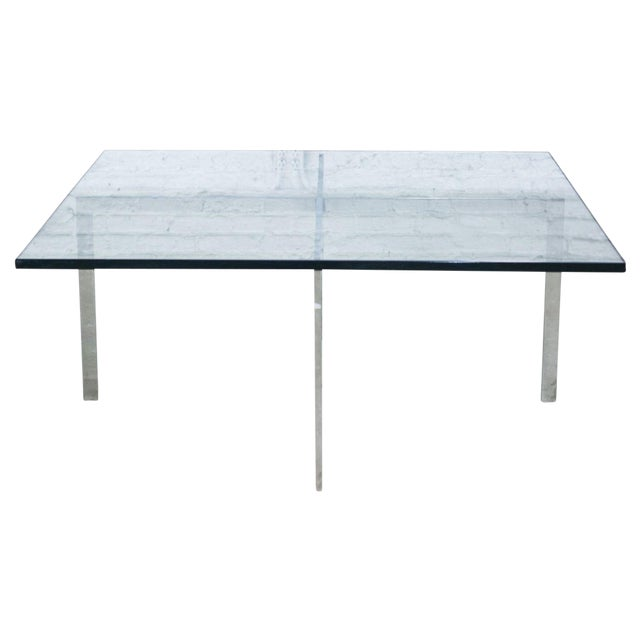 Image of X-Frame Chrome Plated Steel Table With Glass Top