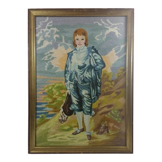 Vintage Blue Boy by the Sea Framed Embroidery