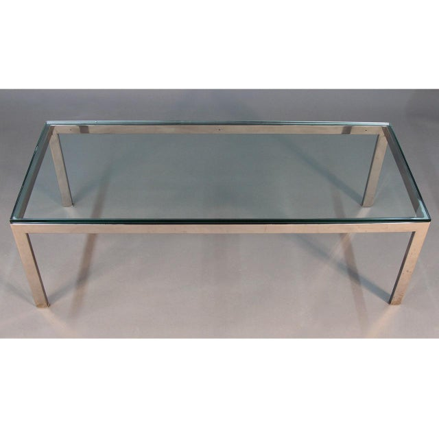 Mid Century Chrome And Glass Coffee Table: Mid-Century Modern Chrome And Glass Coffee Table